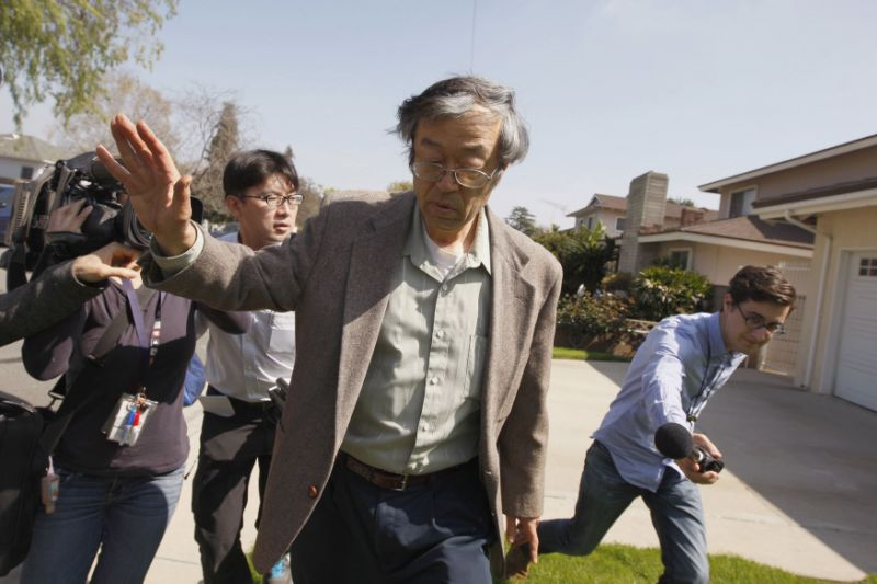 Dorian Nakamoto Surrounded By Reporters