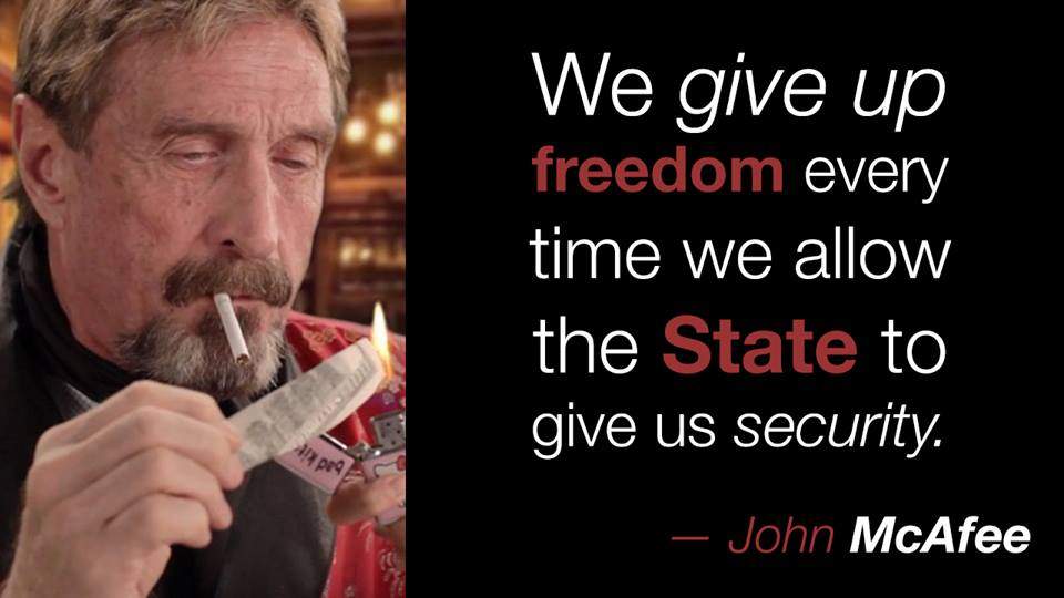 John McAfee Quote About Bitcoin And The State Security